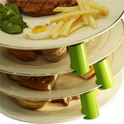 Plate stacker makes serving easier, safer