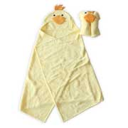 Duck hooded baby bath towel