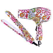 Flower-printed hair straightener, dryer set