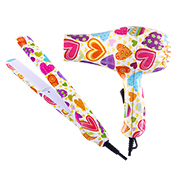 Hair styling set with allover heart prints