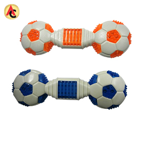 Dumbbell-shaped soccer pet chew toy