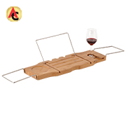 Tray has expandable handles, glass holder