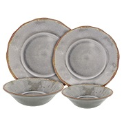 Rustic dinnerware set is dishwasher-safe