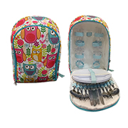 Picnic backpack holds cups, cutlery, plates