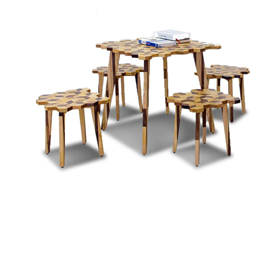 Beehive-inspired wooden furniture set