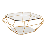 Gold diamond-shaped coffee table