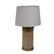 Mango wood mosaic table lamp