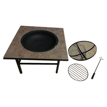 Mosaic Picnic Table Features Grill Fire Pit - Fire picnic table
