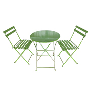 Foldable green powder-coated bistro set