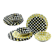 Checkerboard-painted melamine dinnerware