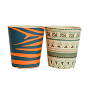 Biodegradable cup has colorful tribal prints