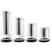 Home Fashions Stainless Steel Glass Storage Canisters Set of 4