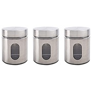 Priority Chef Tea, Coffee, Sugar Jars, Set of 3 Glass Canisters