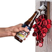 Wall-mount bottle opener collects caps