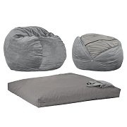 CordaRoy's -Charcoal Chenille Convertible Bean Bag Chair