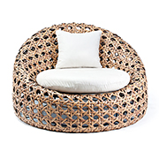 Egg-shaped rattan lounge chair is handmade