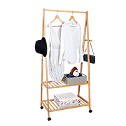 Bamboo clothes rack is mobile, foldable