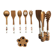Wooden cooking spoon set has ceramic handles