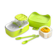 Two-layer lunch box holds hot, cold food simultaneously