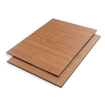 Aluminum composite panel features wooden finish