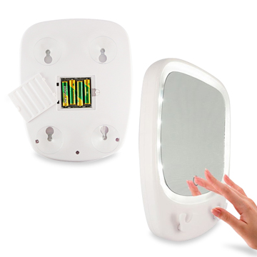 Bathroom mirror has touch-controlled lights