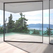 Sliding glass door moves around corners, hides into wall
