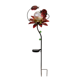 Solar metal flower light with beetle stakes
