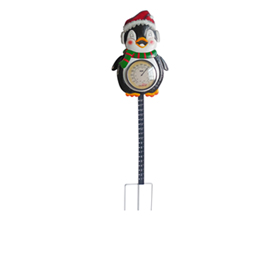 Penguin garden thermometer stake