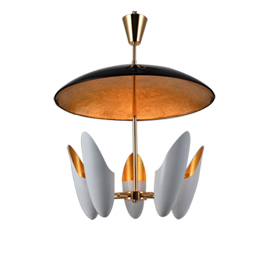 Pendant lamp has rotating shades