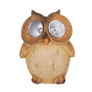Polyresin garden owl has LED lamp eyes