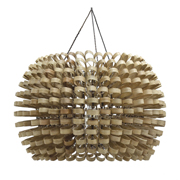 Beacon pendant lamp made of rattan slats