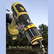 Power drill with revolver screw pocket keeps fingers safe