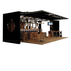 Container coffee shop with hydraulic system