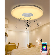 Ceiling light doubles as music player