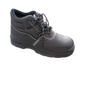 Safety shoes have cemented rubber outsoles