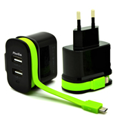 Wall charger has dual USB ports