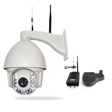 Wireless PTZ analog dome camera, receiver