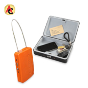 Portable EAS safe box has steel cable handle
