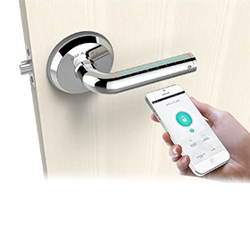 Lever lock powered by smartphone