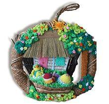 Wreath made of fiber, crocheted cotton