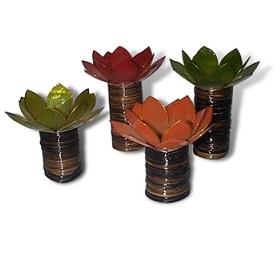 Capiz tealight holder in lotus shape