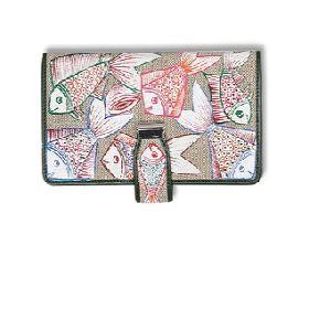 Handpainted wallet combines jute, leather