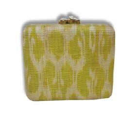 Natural fiber clutch with snakeskin pattern