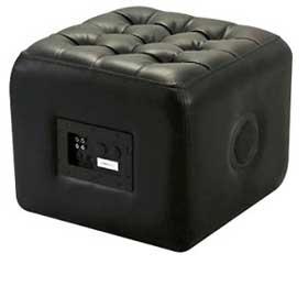 Bluetooth speaker hidden in living room pouf