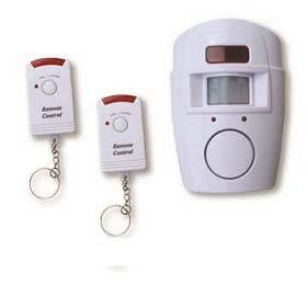 PIR sensor alarm with two remote controls